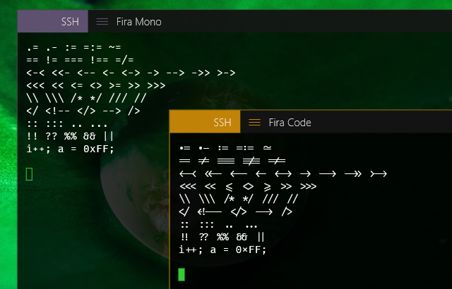Can your text terminal do programming ligatures in fonts? – Choung